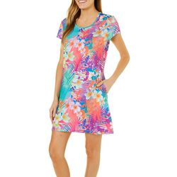 Reel Legends Womens Keep It Cool Floral Palm Pocket Dress