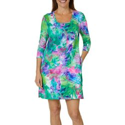Reel Legends Womens Keep It Cool Colorful Palm Dress