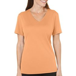 Reel Legends Womens Freeline Solid V-Neck Textured Top