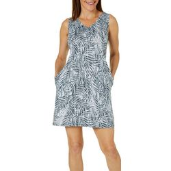 Reel Legends Womens Keep It Cool Textured Palms Pocket Dress
