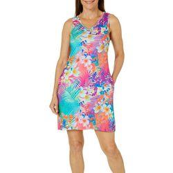 Reel Legends Womens Keep It Cool Tangy Palms Pocket Dress