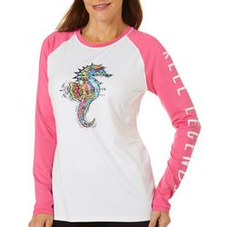 Reel Legends Womens Keep It Cool Seahorse Colorblock Top