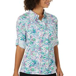 Reel Legends Womens Adventure Pretty Palms Button Down Top