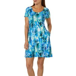 Reel Legends Womens Keep It Cool Glitch Graphic Dress