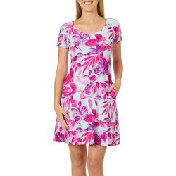 Reel Legends Womens Keep It Cool Painterly Leaves Dress