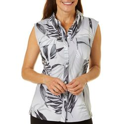 Reel Legends Womens Saltwater Elegant Palms Sleeveless Top