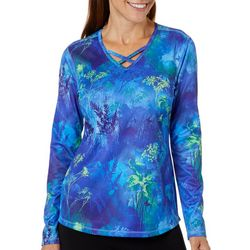 Reel Legends Womens Freeline Field Of Flowers V-Neck