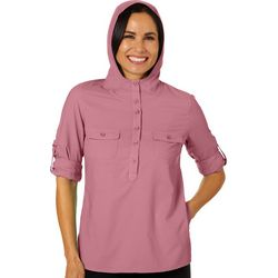 Reel Legends Womens Adventure Button Down Hooded Top
