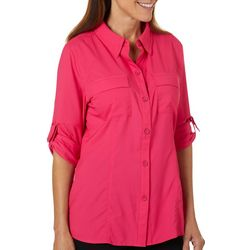 Reel Legends Womens Saltwater Chest Pocket Button Down Top