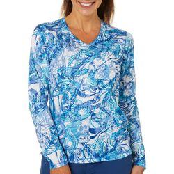 Reel Legends Womens Freeline Agate Texture Swirl Shimmer Top