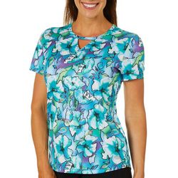 Reel Legends Womens Freeline Floral Fantasia Keyhole T-Shirt
