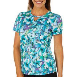 Reel Legends Womens Freeline Floral Fantasia Keyhole T-Shirt