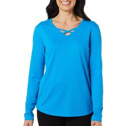 Reel Legends Womens Freeline Solid Caged Neckline Top