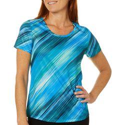 Reel Legends Womens Freeline Diagonal Stripe Scoop Neck Top