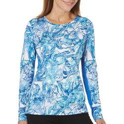 Reel Legends Womens Reel-Tec Agate Texture Keyhole Back Top