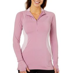 Reel Legends Womens Elite Comfort Mesh Panel Zip Neck Top