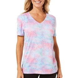 Reel Legends Womens Freeline Coral Escape Burnout V-Neck Top