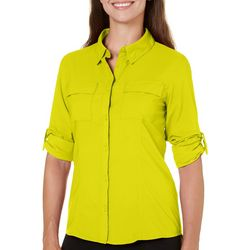 Reel Legends Womens Adventure Button Down Roll Tab Top