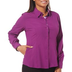 Reel Legends Womens Saltwater Paneled Button Down Top