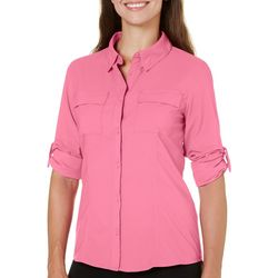 Reel Legends Womens Saltwater Roll Tab Button Down Top
