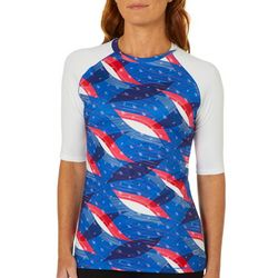 Reel Legends Womens Keep It Cool Freedom Flag Colorblock Top