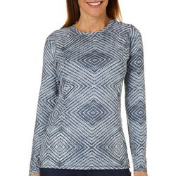 Reel Legends Womens Keep It Cool Geometric Long Sleeve Top