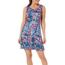 Reel Legends Womens Keep It Cool Triangles Caged Back Dress