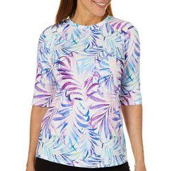 Reel Legends Womens Keep It Cool Splatter Palm Swim Shirt