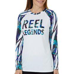 Reel Legends Womens Keep It Cool Butterfly Stripes Logo Top