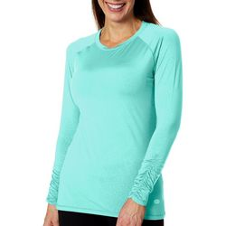 Reel Legends Womens Keep It Cool Leafy Linework Debossed Top