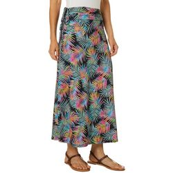 Reel Legends Womens Keep It Cool Watercolor Palms Maxi Skirt