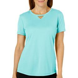 Reel Legends Womens Freeline Solid Keyhole T-Shirt