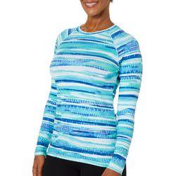 Reel Legends Womens Keep It Cool Watercolor Stripes Top