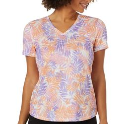 Reel Legends Womens Mixed Palm Print Burnout T-Shirt