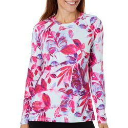 Reel Legends Womens Keep It Cool Painterly Leaves Top