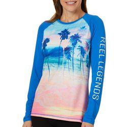 Reel Legends Womens Keep It Cool Tropical Beach Scene Top