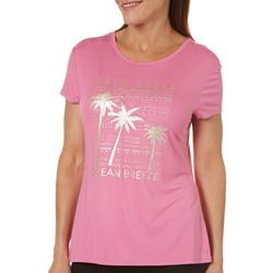 Reel Legends Womens Palm Trees Ocean Breeze Strappy Back Top
