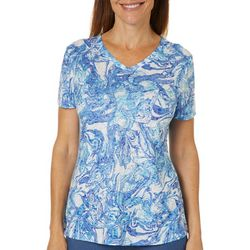 Reel Legends Womens Agate Texture Swirl Print T-Shirt