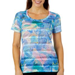 Reel Legends Womens Striped Rainbow Rocks T-Shirt