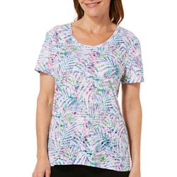 Reel Legends Womens Colorful Palm Burnout T-Shirt