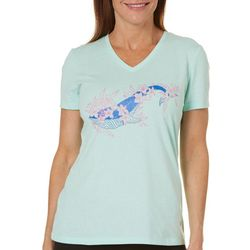 Reel Legends Womens Whale Floral Graphic Top