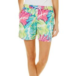 Reel Legends Womens Tropical Palm Leaf Pull On Shorts