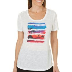 Reel Legends Womens Reel Fresh Glitched Sunset T-Shirt