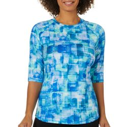 Reel Legends Womens Keep It Cool Graphic Mosaic Top
