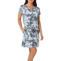 Reel Legends Womens Keep It Cool X-Ray Palm Split Neck Dress