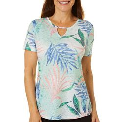 Reel Legends Womens Elegant Palms Keyhole Burnout Top