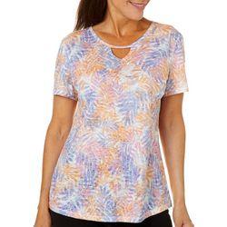 Reel Legends Womens Falling Fronds Burnout Keyhole T-Shirt