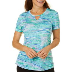 Reel Legends Womens Waterway Print Keyhole Burnout Top