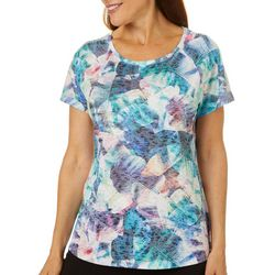 Reel Legends Womens Tropical Leaves Burnout Top
