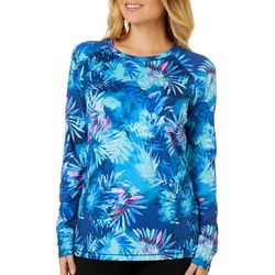 Reel Legends Womens Keep It Cool Misty Palms Long Sleeve Top